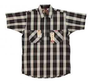 Ben Davis® Short Sleeve Plaid ½ Zip Shirt