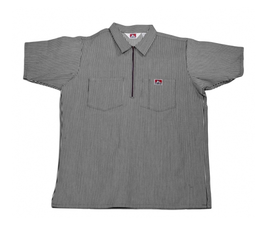 Ben Davis® Short Sleeve Stripe ½ Zip Shirt - Click Image to Close